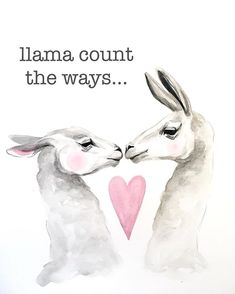 Llama valentine, watercolor by Kirsten Dill, Sonoran Watercolors Valentines Watercolor, Valentines Art, Watercolor Animals, Watercolor Paintings, Llama Llama, Alpacas, Animal Drawings, Rock Art, Painted Rocks
