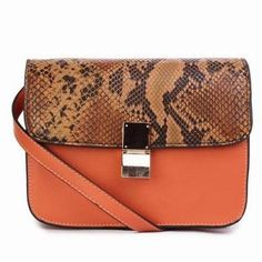 celine orange exotic leathers handbag trapeze