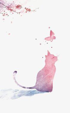 Chat de peints à la main,Le chat d'illustration,Le Papillon,De l'encre de chat,Mignon,Chat,Papillon Rose,Le Papillon sans boucle PNG