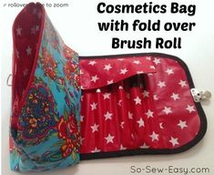 Free Sewing Pattern: Cosmetics Bag With Fold Over And Brush Roll