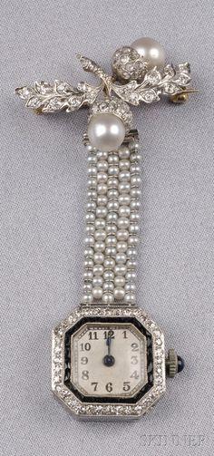 Art Deco Seed Pearl, Diamond, and Onyx Pendant Watch