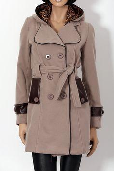 Manteau taupe avec capuche intérieur léopard