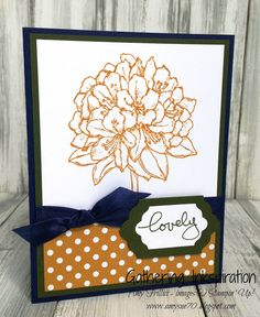 handmade greeting card, handmade card, hydrangea, lovely, polka dots, seam binding ribbon, navy, gold & green, encouragement, DIY, demonstrator, paper crafting, easy, stamping, craft, paper, *Stampin' Up, by Amy Frillici, Gathering Inkspiration Stamp Studio, order products online at amysuzanne.stampinup.net