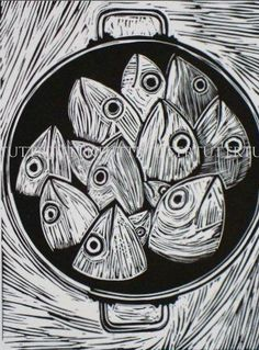 Well isn't this just a kettle of fish . . . like shooting fish in a barrel. R. Tutt/Prints Charming - Fish linocut
