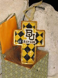 Baylor University Harlequin Cross Cloisonne Ornament