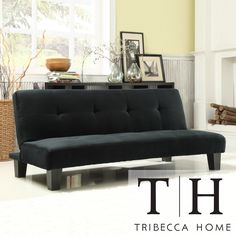 Add extra sleeping space to your living room with this comfy futon sofa bed. It can quickly fold out into a bed in seconds, so you can easily accommodate surprise house guests. It comes in a classic black that works well with most living room furniture.