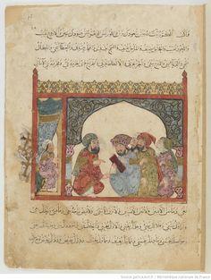 Folio 16 Recto: maqama 06. Abu Zayd dictating a letter