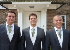 Groom and groomsmen ready to set off. All in charcoal grey Hugo boss morning suits with hired ivory waistcoats from moss bros and silk sage cravat tailor made by my friend for £15 each. The silk was the same used for my bridesmaid dresses