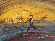 Little Thunder at Sunrise by Alan Syliboy, who has been influenced in his art by Mi'kmaq rock drawings and quill weaving traditions