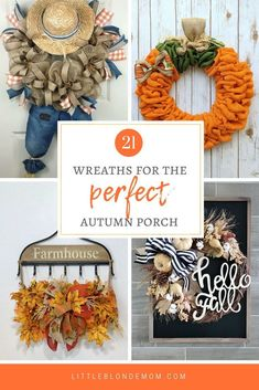 Cutest fall wreaths for the front door. Love the handmade details & all the character for autumn! Diy Crafts To Do, Holiday Crafts For Kids, Fall Crafts, Holiday Ideas, Diy Fall Wreath, Fall Diy, Fall Wreaths, Wreath Crafts, Old Window Projects