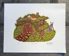 Grass House Woodcut Print by tugboatprintshop on Etsy, $45.00