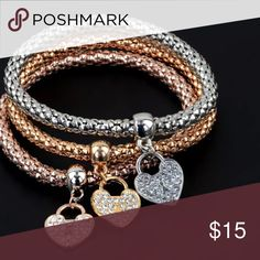 ❎must bundle❎❤️LAST 1❤️3 color heart bracelet Fashion bracelets, without bundle price is $15, thx Jewelry Bracelets