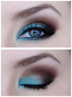 blue brown eyeshadow - gorgeous..this is so cool but i don't have the guts to try something this bold. :-(