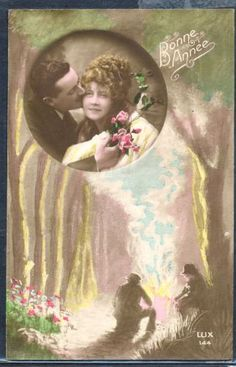 QC058-ART-DECO-COUPLE-KISS-in-FRAME-KITSCH-Tinted-PHOTO-pc