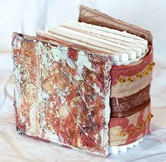 by dj pettitt .Great art journal - looks like watercolor paper. Handmade Journals, Handmade Books, Handmade Crafts, Handmade Rugs, Journal Covers, Book Journal, Fabric Journals, Art Journals, Fabric Books