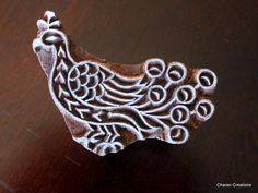 Hand Carved Indian Textile Wood Stamp Block- Peacock. $12.75, via Etsy.