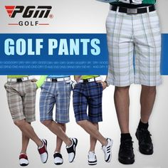 PGM Golf Authentic Men Golf Plaid Shorts Male Golf Summer Trousers Clothes Golf Apparel Thin Breathable Wicking Quick Dry XXXL