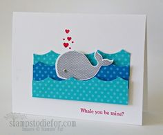 Oh Whale Valentines--Oh Whale    Paper: Whisper White, Designer Series Pattern Packs Brights (Tempting Turquoise, Pacific Point    Ink: Real Red, Basic Gray    Accessories: Happy Whale Clearlits Die, Large Scallop Framelit