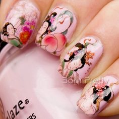 $2.86 Nail Water Decals Sticker Traditional Chinese Painting Beauty Aspara Flat Peach Pattern - BornPrettyStore.com