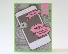 Birthday card handmade card nephew text iphone cell phone handmade girls birthday card by beyondtheream on etsy m4hsunfo