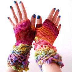 Knit fingerless gloves - Art Yarn Rainbow Carnival - Madcap Charity - Hurricane Sandy. €39.00, via Etsy.