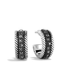 Midnight M Lange Earrings With Black Diamonds Womens David Yurman