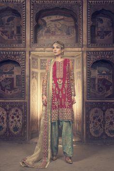 Maria B (Pukhraj) BRIDAL,Mehndi Chiffon Collection 2017 - Replica Fabric (Shirt) Chiffon (Shirt), Net (Dupatta) Jamawar Banarsi (Trouser) Embroidery Details Pakistani Wedding Outfits, Pakistani Bridal Wear, Pakistani Dresses, Indian Dresses, Indian Outfits, Indian Bridal, Pakistani Mehndi, Pakistani Couture, Indian Clothes