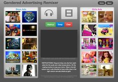 Gendered Advertising Remixer    Also see article here: http://jezebel.com/5887428/lets-swap-the-audio-for-girls-and-boys-lego-commercials-and-see-what-happens?utm_campaign=socialflow_jezebel_facebook&utm_source=jezebel_facebook&utm_medium=socialflow