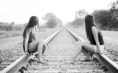 Full View and Download Grayscale Railroad Tracks Girls Railway Image with resolution of 2560x1600 for your desktop, mobile