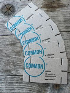 "Letterpress Business Card: Common 1/4 | Flickr - Photo Sharing! Designed by Erik Cox. Interlocking business cards printed 2/1 on very thick chipboard (.040"") #typography #design #businesscard"
