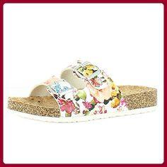 Heavenly Feet  Heavenly Feet Lilley White Sandals, Damen Sandalen, mehrfarbig - Weiß/Blumen - Größe: 39 - Sandalen für frauen (*Partner-Link)