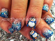 Blue Snowflake and Penguin Holiday #nails #nailart