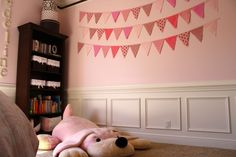 """big girl room"" in pink - Project Nursery Pretty in pink bunting wall in this Pink Toddler Rooms, Little Girl Rooms, Toddler Girls, Baby Girls, Pink Brown Nursery, Pink Bunting, Toy Rooms, Kids Rooms, Dark Furniture"