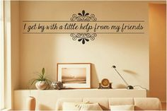 Friends welcome wall art sticker decal present gift black and white
