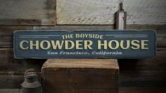 Bayside Chowder House Wood Sign, Custom Beach Location Sign, Distressed Ocean Lover Decor - Rustic Hand Made Vintage Wooden Sign ENS1001230