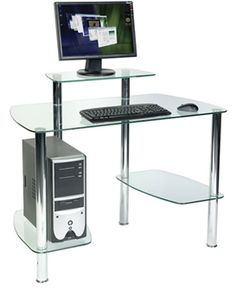 Glacier Glass Workstation Glass Desk, Glass Office, Computer Workstation  Desk, Office Computer Desk
