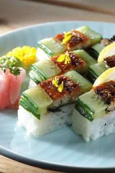 Osaka-Style Roll with Grilled Eel and Cucumber. (no recipe)