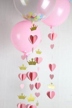 Princess Tiara Garland Pink and Gold Nursery Decor Crown Princess Theme, Baby Shower Princess, Princess Birthday, Diy Birthday, First Birthday Parties, Pink Princess Party, Princess Tiara, Baby Shower Parties, Baby Shower Themes