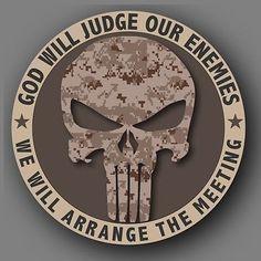 "Punisher Camo Marine Military Die Cut Decal 4"""