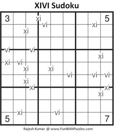 XIVI Sudoku Puzzle (Fun With Sudoku #285) Magic Squares, Sudoku Puzzles, Train Your Brain, Puzzle Board, Brain Teasers, Riddles, Fun, Mind Games, Puzzle