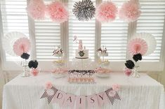 Parisian poodle themed party featured on Amy Atlas - adore the layout of the table simple and elegant