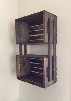 SALE Brown Wooden Crate Hanging 3 Shelf Wall Fixture- Shelves for Bookcase, DVD's, Storage, Bathroom, Outdoors on Etsy, $49.00