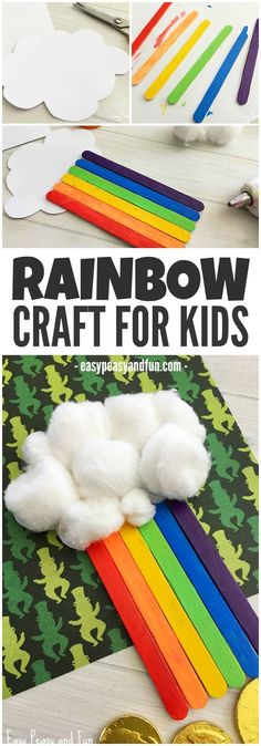 Bright and easy rainbow craft made from cotton balls and Popsicle sticks! Great craft for preschoolers!