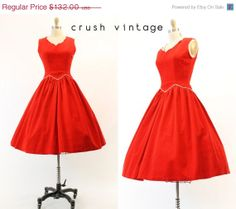 50s Red Vintage Dress XS / 1950s Corduroy Dress / by CrushVintage, $105.60