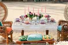 Psychedelic Wedding Inspiration | Green Wedding Shoes Wedding Blog | Wedding Trends for Stylish + Creative Brides utterly dreamy table setting peacock chairs bohemian