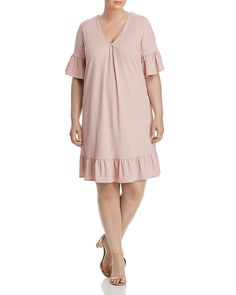 119e3a70850 This A-line dress in blush is a gorgeous choice for plus size apple shapes