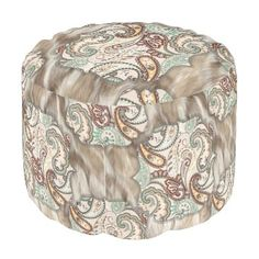 """Title : 70, Earthy Floral Collage on Fur Fabric Pouf  Description : These designs are a mix of """"Leather-Fabrics-Animal Skin Prints"""", and other fabric patterns, such as Damask, Jacquard, Brocade to add an Elegant Style to your Home decor.  Product Description : <div>  Fabric: Grade A Woven Cotton    <div>    <p>Poufs are an easy way to incorporate more seating into a space that requires flexibility within its usage, without committing to larger furniture pieces. Custom poufs are an easy way…"""