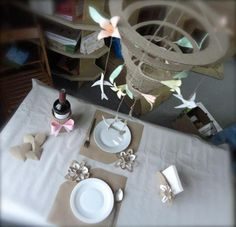 Cardboard art spiraling wonderfully out of control and some place setting with a dash of whimsey, by Cardboardia. Cardboard Art, Spirals, Place Settings, Workshop, Objects, Arts And Crafts, Events, Table Decorations, Friends