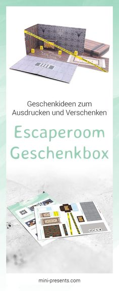 You are looking for an original gift voucher for an escape room? I have a great do-it-yourself gift idea for you: Make my own escape room with my craft instructions and give away an adventurous pop-up box for an escape game. Diy Gifts Last Minute, Arts And Crafts Box, Teen Presents, Escape Room, Origami Box, Explosion Box, Gift Vouchers, Baby Shower Printables, Interactive Notebooks