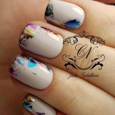 Nude and multi colored foil short length square shaped finger nail art Acrylic Gel Nails Summer Fall Nail Designs Cute Fingernail Art Ideas naildesigns nailart acrylicnails toenailart toenailpolish cutesummmertoes feet Foil Nail Designs, Fall Nail Art Designs, Acrylic Nail Designs, Acrylic Gel, Gel Designs, Finger Nail Art, Toe Nail Art, Easy Nail Art, Nails Gelish